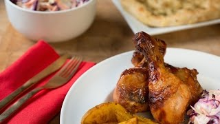 Aafiyah Halal Recipes: Bbq Drumsticks With Garlic And Herb Potato Wedges And Coleslaw