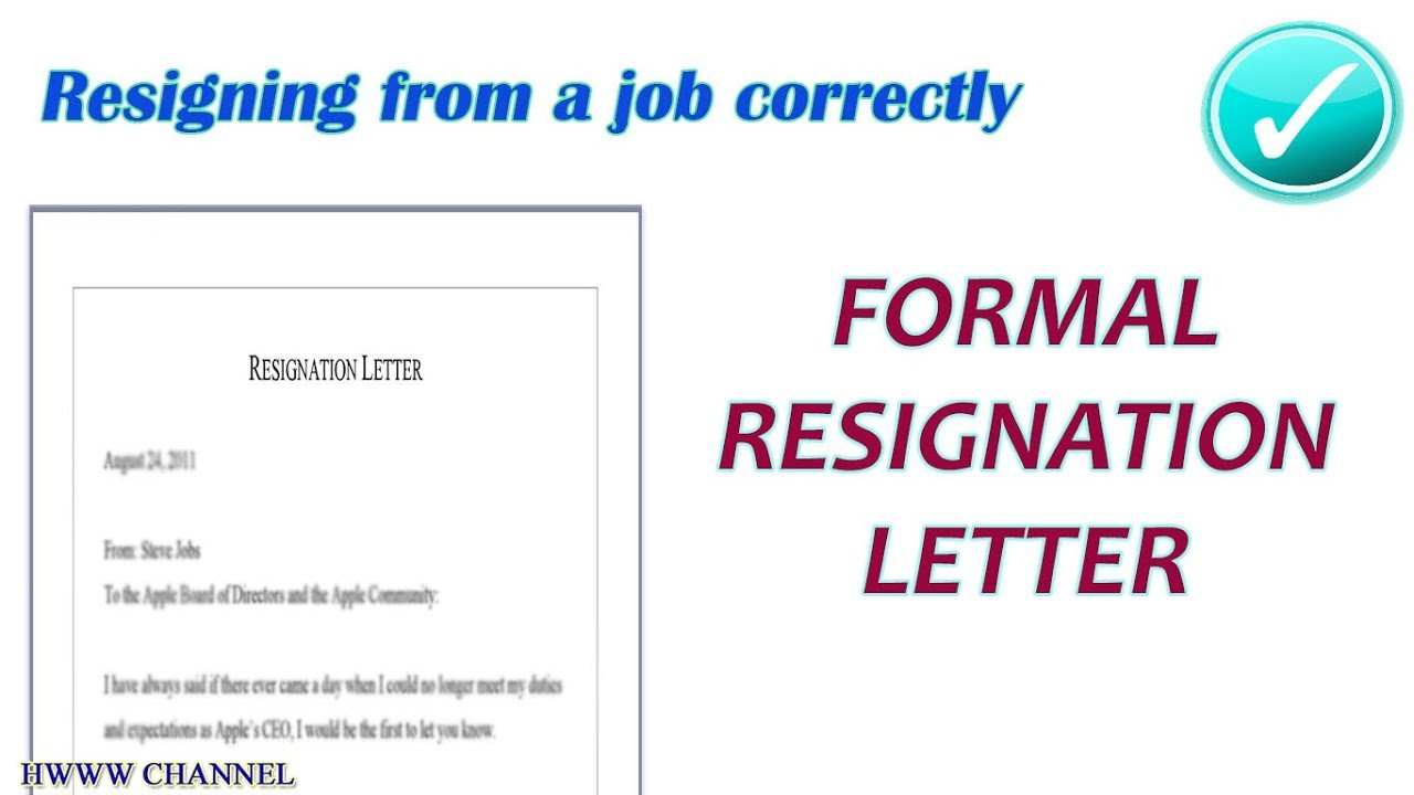 FORMAL LETTER OF RESIGNATION SAMPLE - Formal resignation letter ...