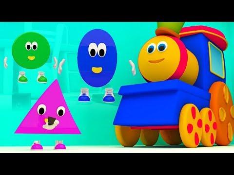 Боб поезд | Пять маленьких форм прыгает на кровати | формы для детей | Bob Five Little Shapes