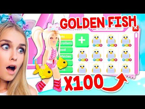 Throwing 100 GOLDEN FISH To Get GOLDEN PENGUINS In Adopt Me! (Roblox)