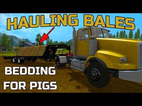 FARMING SIMULATOR 2017 | HAULING BALES | BEDDING FOR PIGS EP2 | GOOSENECK TRAILER MOD
