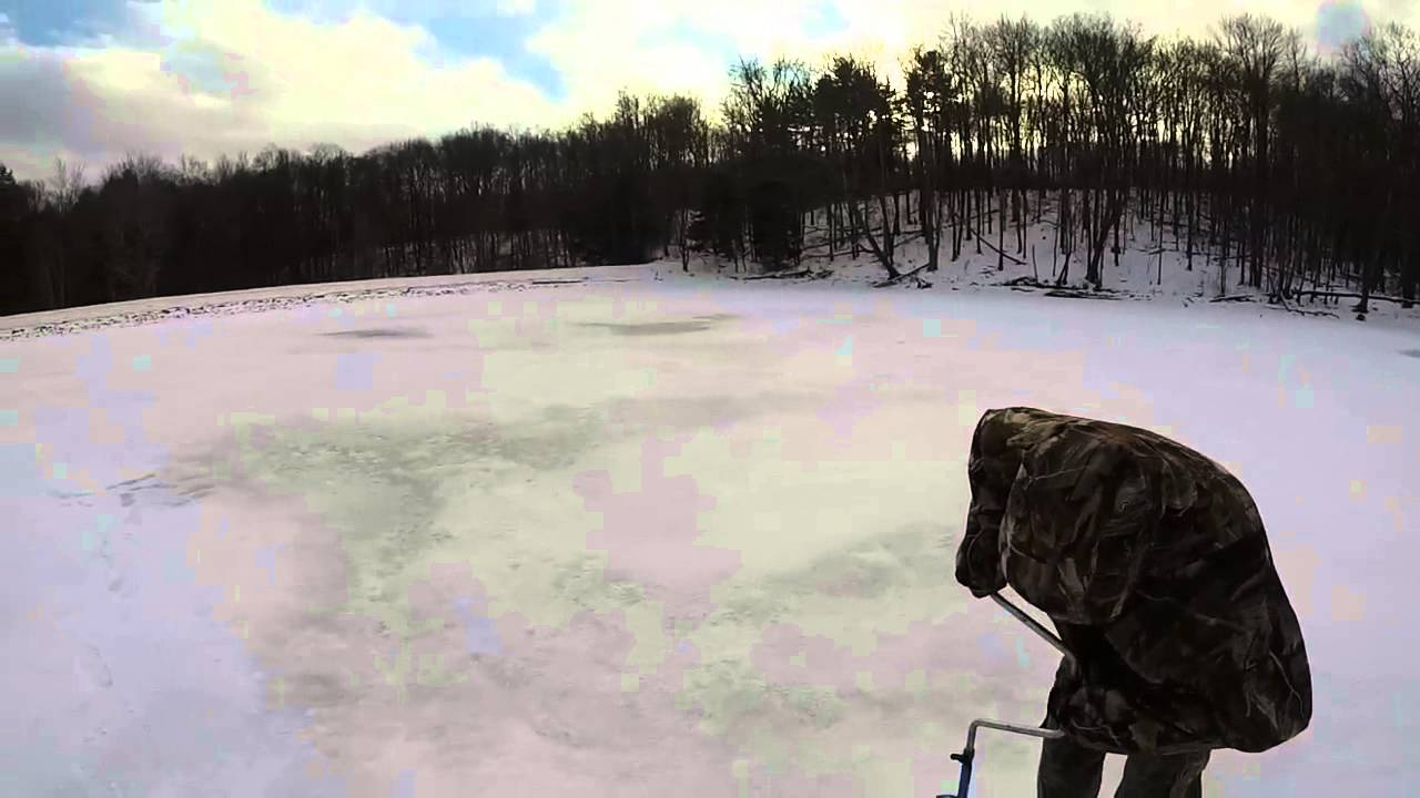 Ice fishing cranberry glades lake pa 2015 youtube for Pa ice fishing