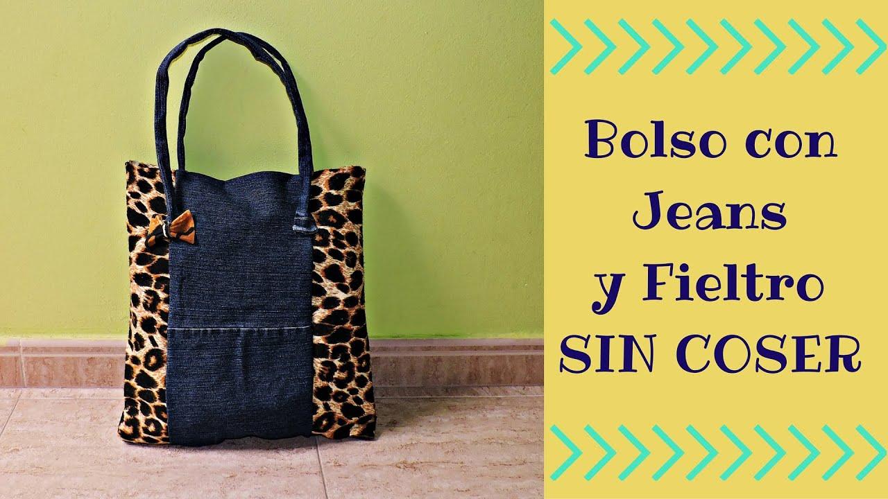 Bolso reutilizando jeans y con fieltro sin coser viyoutube - Como hacer bolsos con salvamanteles ...