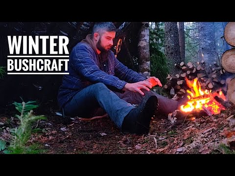 Solo Winter Bushcraft Camp | Overnight At The Survival Shelter | Campfire Steak | ATV Camping