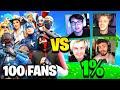 100 FANS vs One Percent Fortnite House!