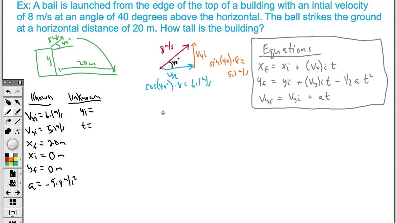 how to solve for a projectile launched at an angle ap physics 1 youtube. Black Bedroom Furniture Sets. Home Design Ideas
