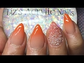 Acrylic Nails | Orange Ombré | Pixie Crystals