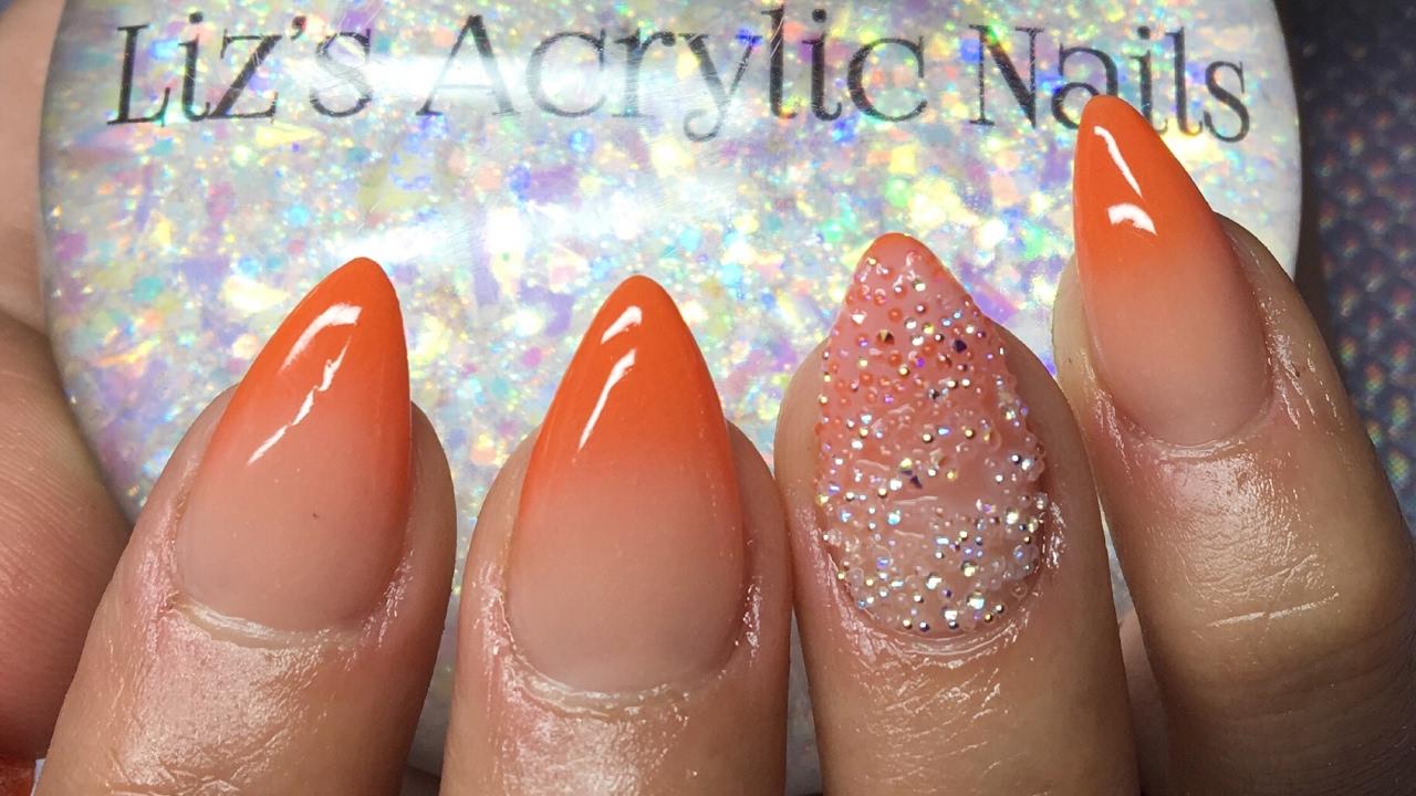 Acrylic Nails Orange Ombré Pixie Crystals