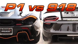 McLaren P1 vs Porsche 918 1/2 Mile Drag Race!