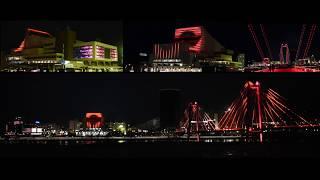 Первое в России стационарное свето-музыкальное шоу «Активация» на Стрелке города Красноярск