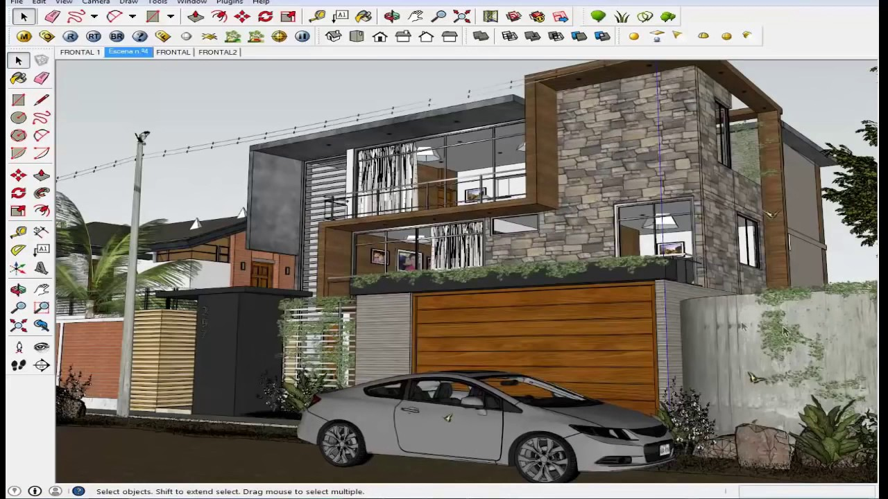 Sketchup Tutorial Vray Home Sketchup Exterior Youtube
