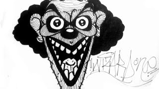 how to draw a evil clown  -  tutorial 2015 for Halloween