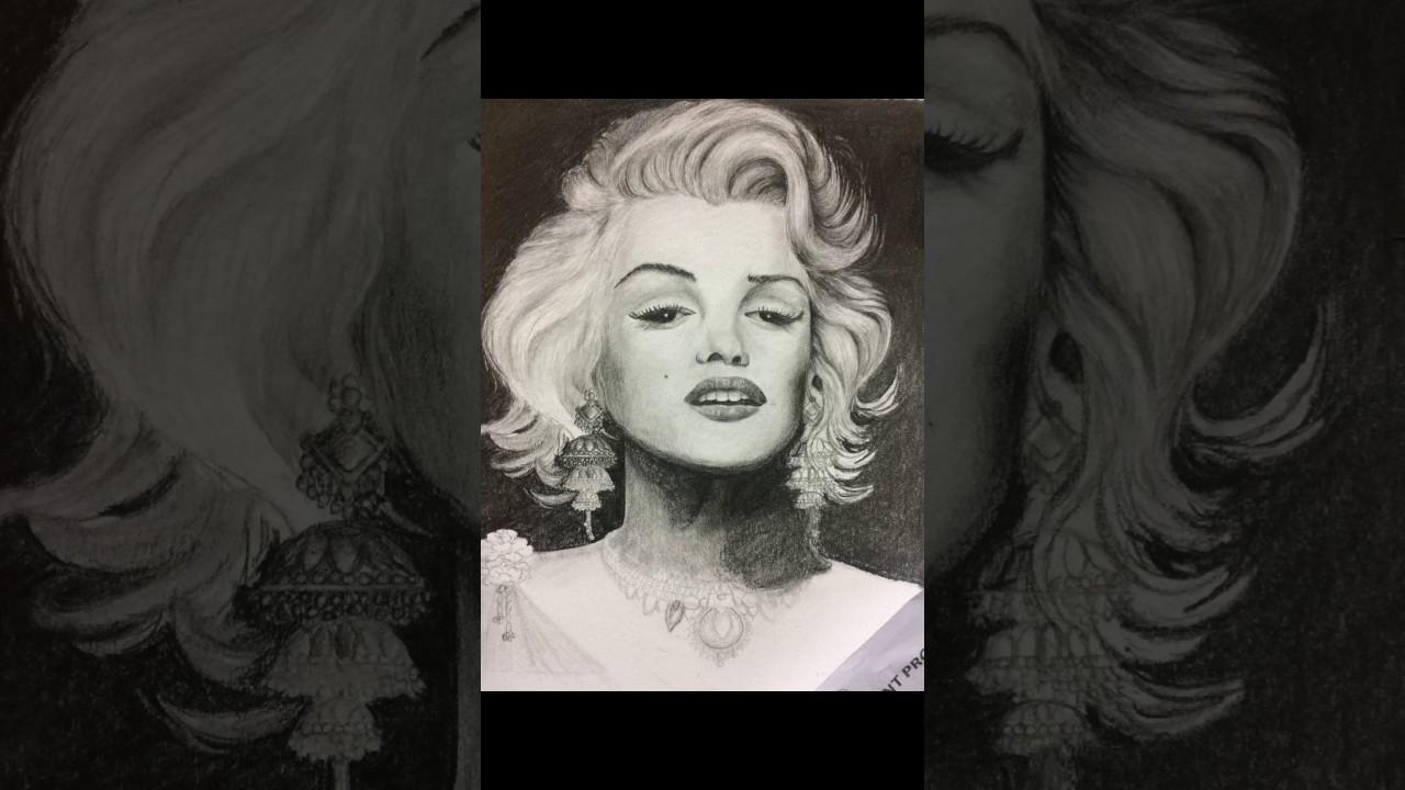 Marilyn monroe ornaments - Pencil Drawing Marilyn Monroe With Kerala Traditional Ornaments