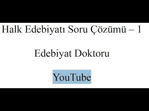 Halk Edebiyatı Soru çözümü 1 Youtube