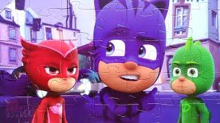 Герои в масках - Кэтбой, Алетт и Гекко друзья - Собираем большой пазл для детей PJ Masks