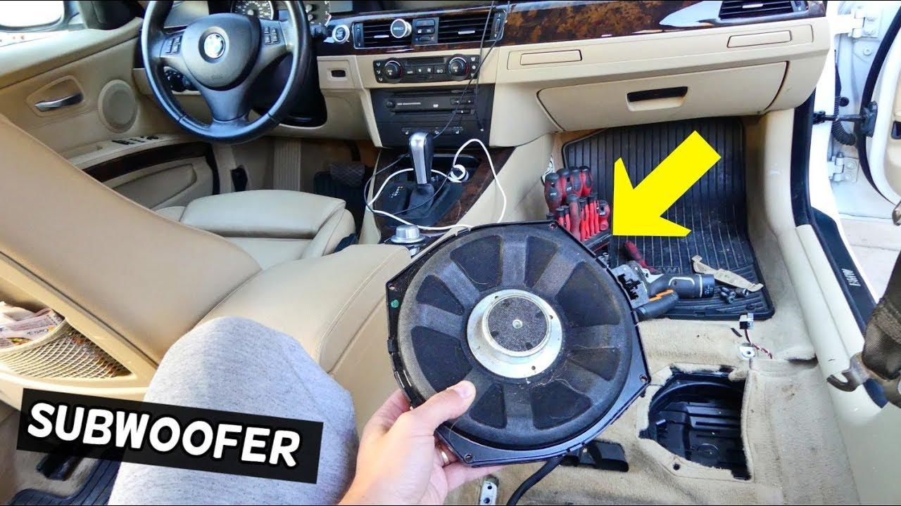HOW TO REPLACE UNDER SEAT SPEAKER SUBWOOFER BMW E90 E91 E92 E93