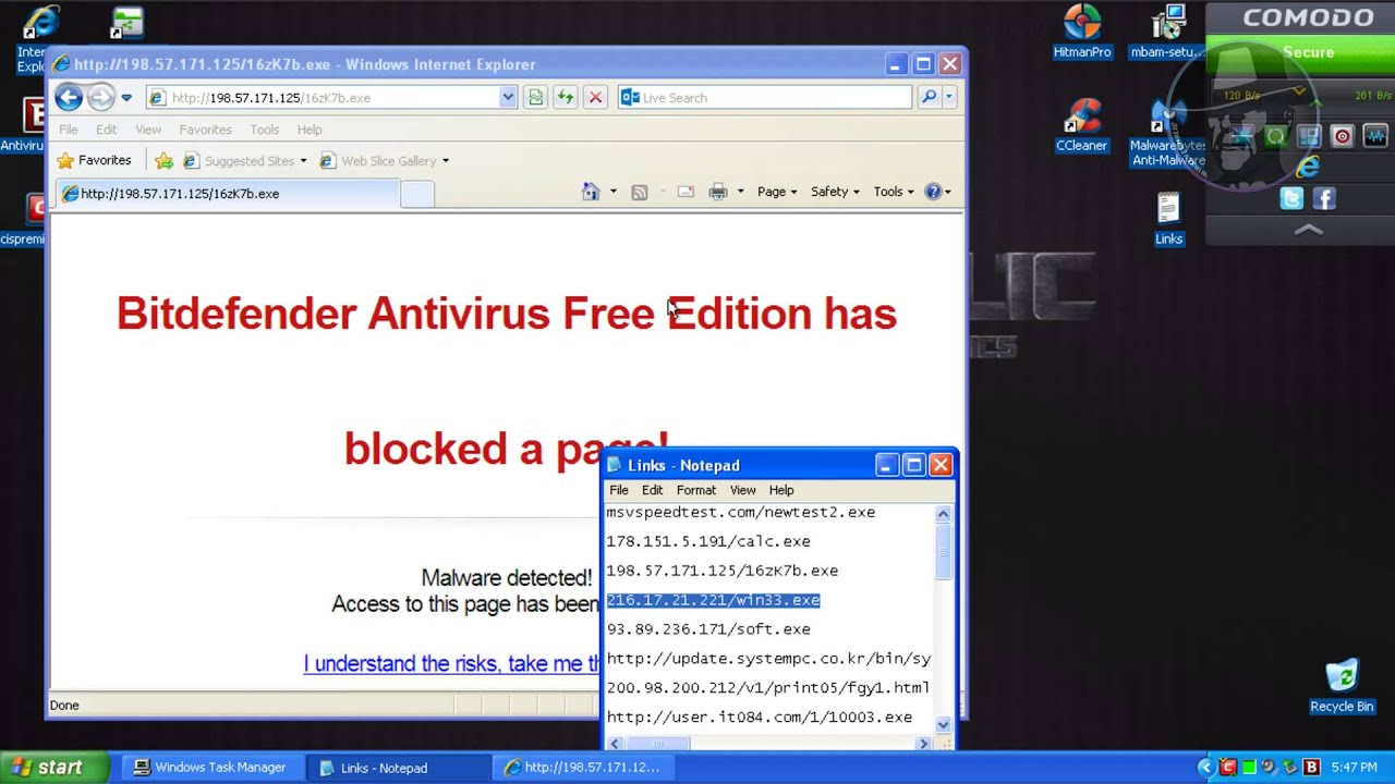 BitDefender Antivirus Free Edition with Comodo Firewall (Modified settings)  - Test with more links