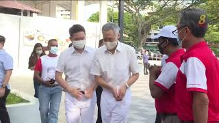 【新加坡大选】李显龙总理到宏茂桥美华熟食中心 同选民交流