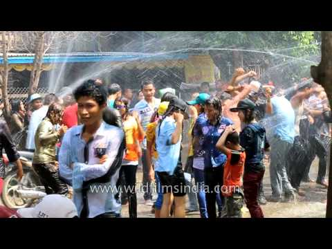 Burmese celebrate their Water festival much like the Indian Holi