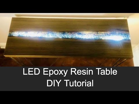 LED Epoxy Resin River Table with Embedded FIRE GLASS // How to Make