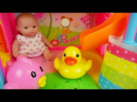 Thumbnail: Baby doll water slime slide and bath surprise eggs toys play