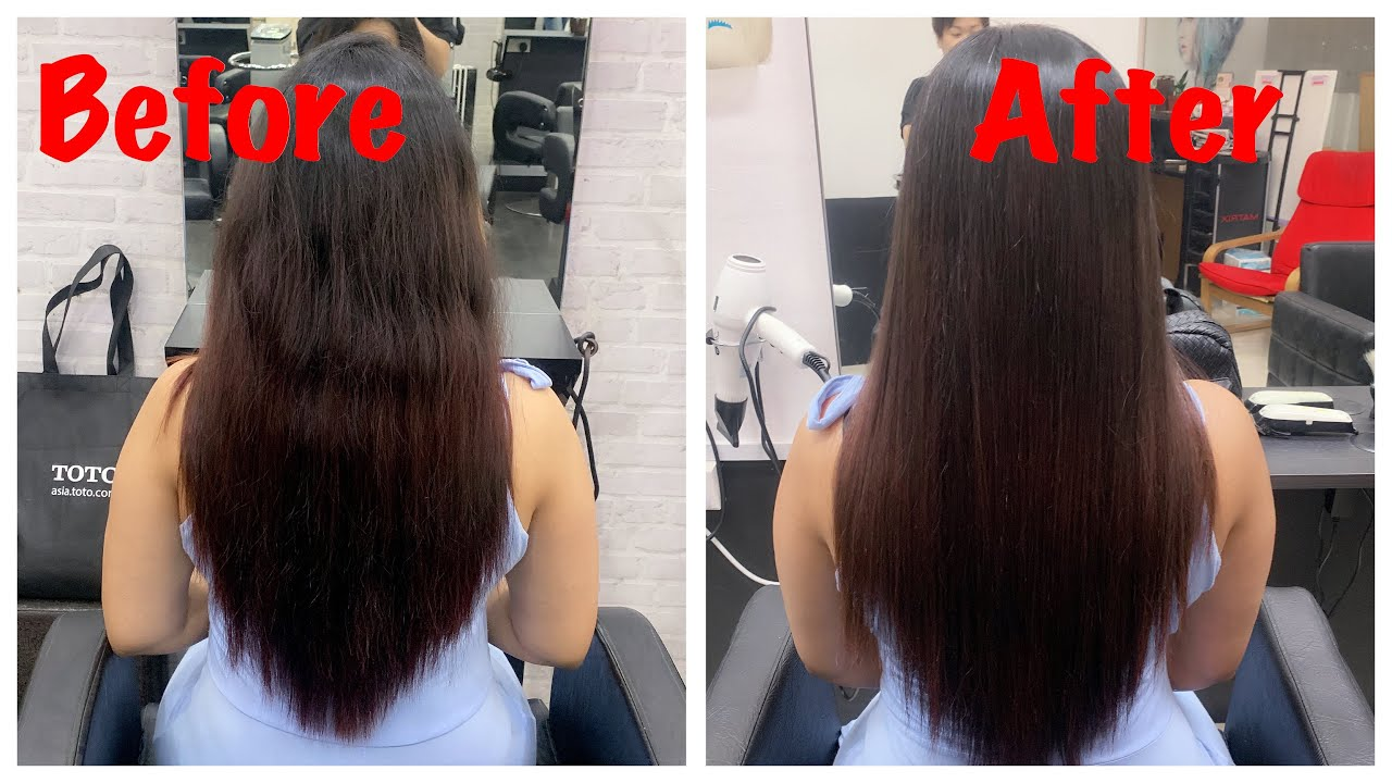 REBONDING/SMOOTHENING OF HAIR | STRAIGHTENING OF MY HAIR | PROCEDURE AND  END RESULTS - YouTube