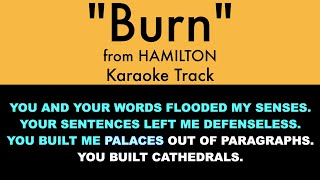 'Burn' from Hamilton  Karaoke Track with Lyrics on Screen