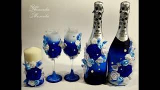 Свадебные бокалы/шампанское/свечи/DIY