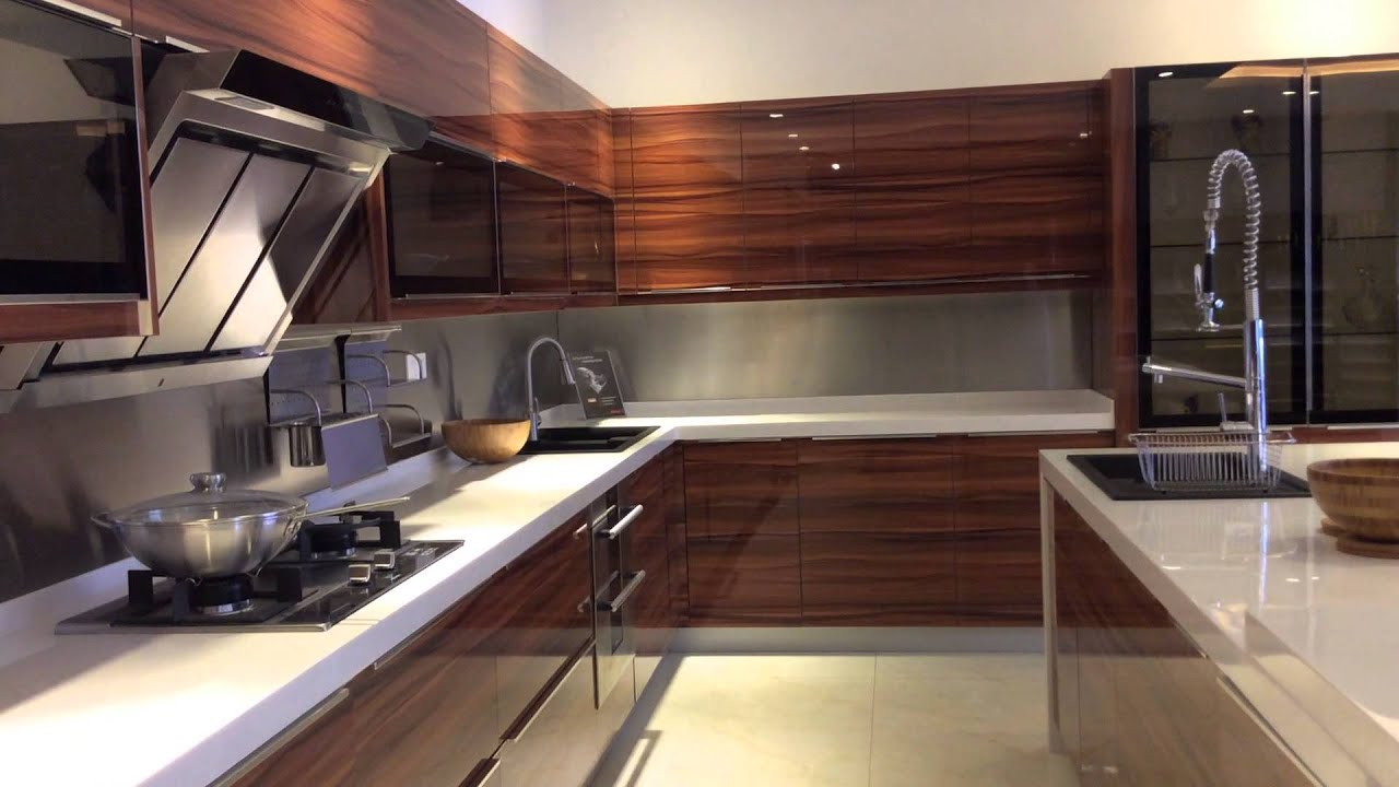 Jisheng uv high gloss kitchen cabinet designs youtube for High gloss kitchen cabinets