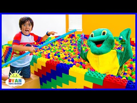 Ryan Pretend Play Fishing in the Giant Lego Box Fort Ball Pits for animals!