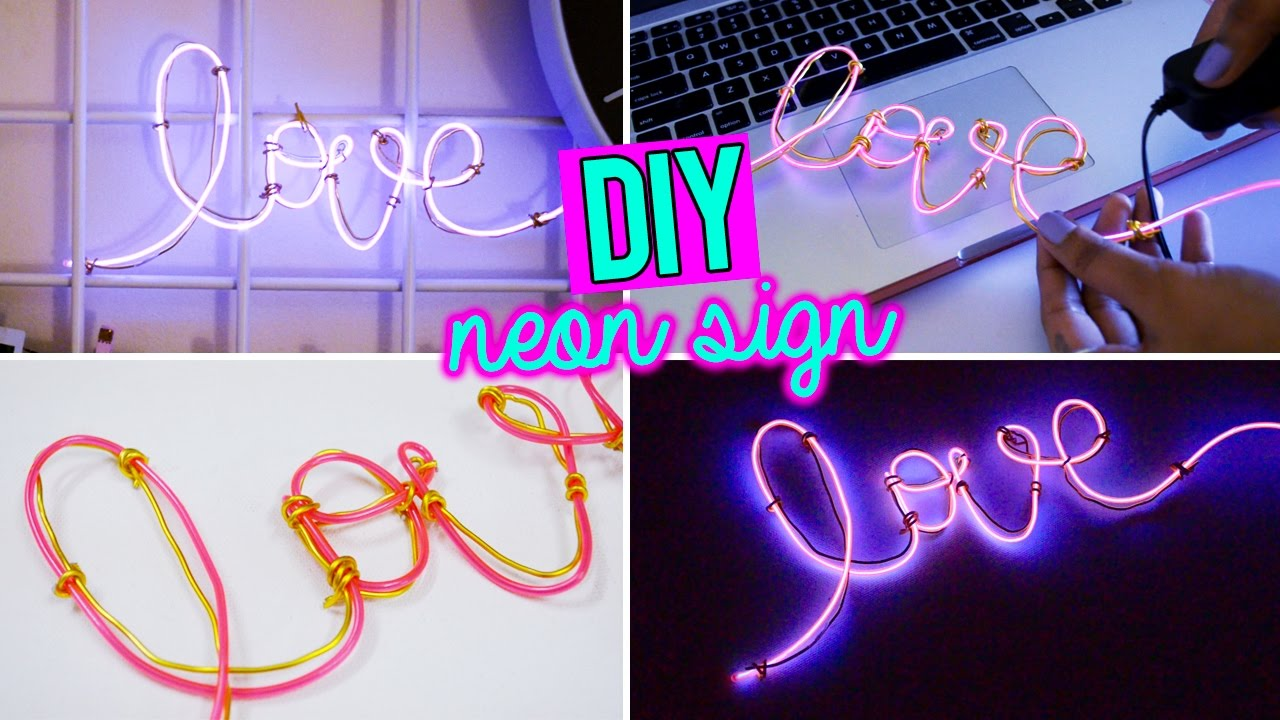 DIY: SUPER EASY NEON SIGN WORD WITH EL WIRE!! - YouTube