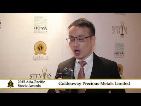 Goldenway Precious Metals Limited share a few words at the 2015  Asia Pacific Stevie Awards.