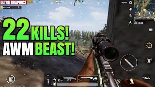 AWM BEAST! | 22 Kills Solo VS Squad | PUBG Mobile