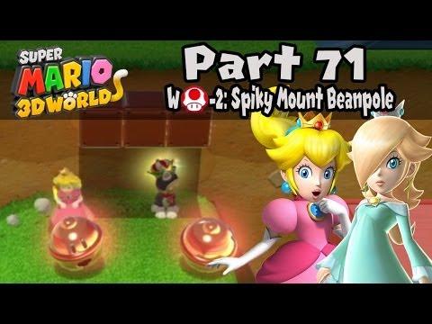 "Super Mario 3D World - Part 71: World Mushroom-2 ""Spiky Mount Beanpole"" 100% Walkthrough!"