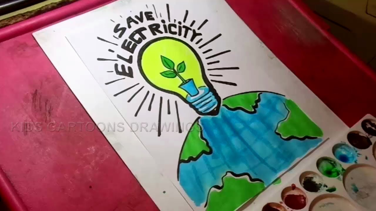 How To Draw Save Electricity Drawing For Kids Youtube
