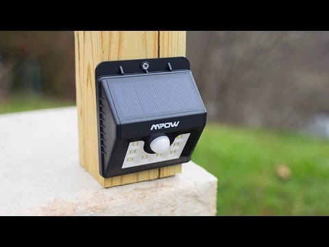 NEW! - Mpow Super Bright LED Solar Powered Motion Sensor Light Test & Review