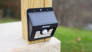 NEW! - Mpow Super Bright LED Solar Powered Motion Sensor Light Test & Review