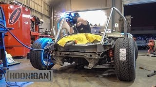 [HOONIGAN] DT 172: $200 Miata Kart Build [Part 4] - Cut the Front End and Continue Building Cage