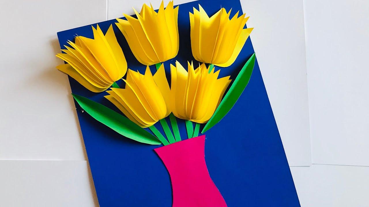 Как сделать бабушке открытку на 8 марта видео цветы