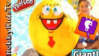 Mega GIANT SpongeBob Round Pants! Play-Doh Face Surprise and Nickelodeon Fun HobbyKidsTV