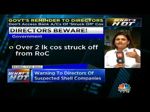Warning To Directors Of Suspected Shell Companies | CNBC TV18