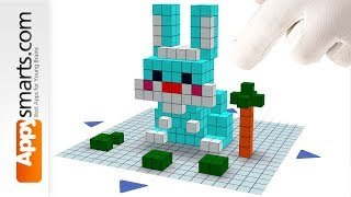 Blocky Funny Bunny Tutorial for Preschool and Kindergarten Kids (Qbics Paint)
