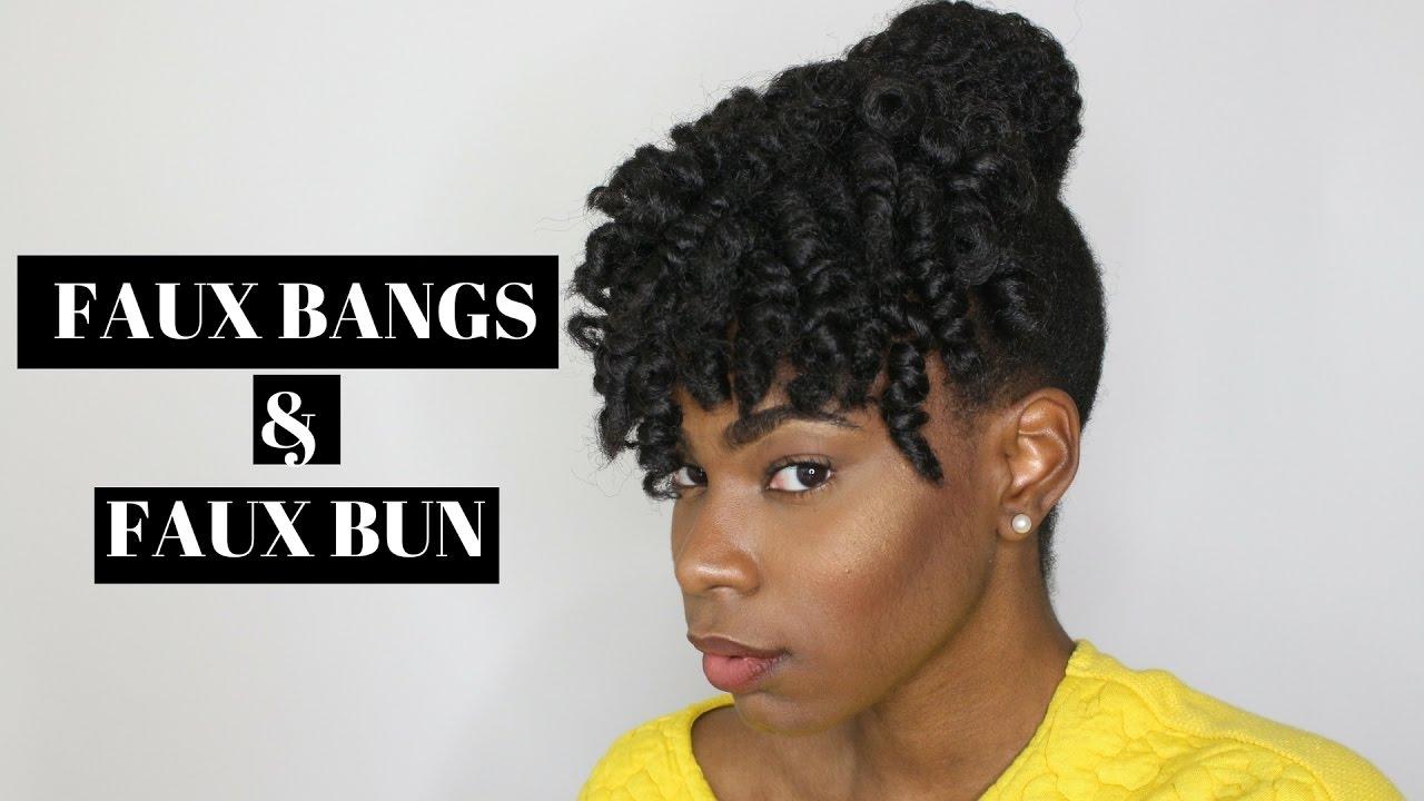 faux curly bang and bun tutorial | med/short 4c natural hair - youtube