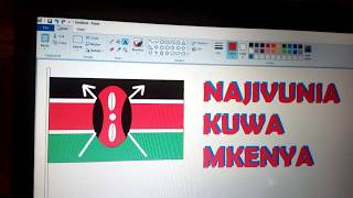 how to draw Kenya flag using ms paint program | Sachem kenya