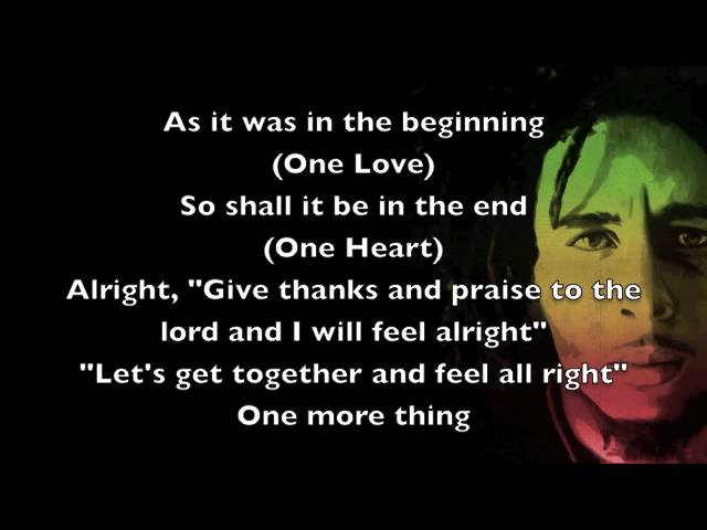 One Love Bob Marley [Lyrics] Chords Chordify Awesome Rasta Love Lyrics