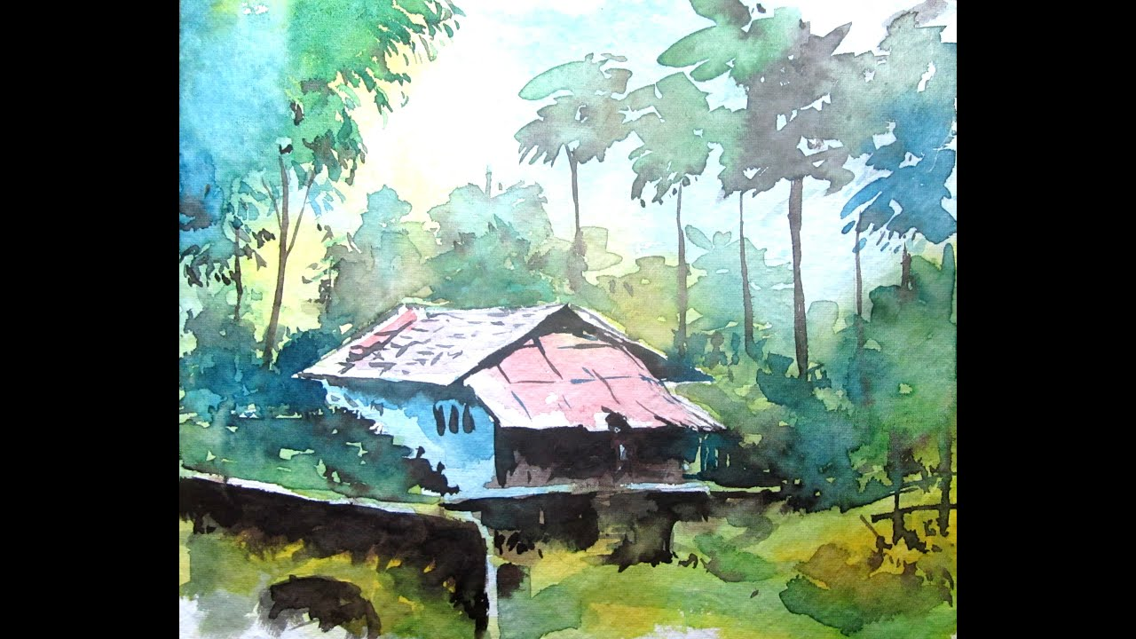 Simple landscape painting watercolor painting for for Watercolor steps