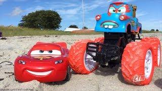 Disney Pixar CARS TOONS Tow Mater TORMENTOR Monster Truck & Lightning McQueen