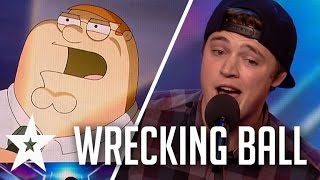Download Peter Griffin, Elmo & More Sing Wrecking Ball On Britain's Got Talent Mp3 and Videos
