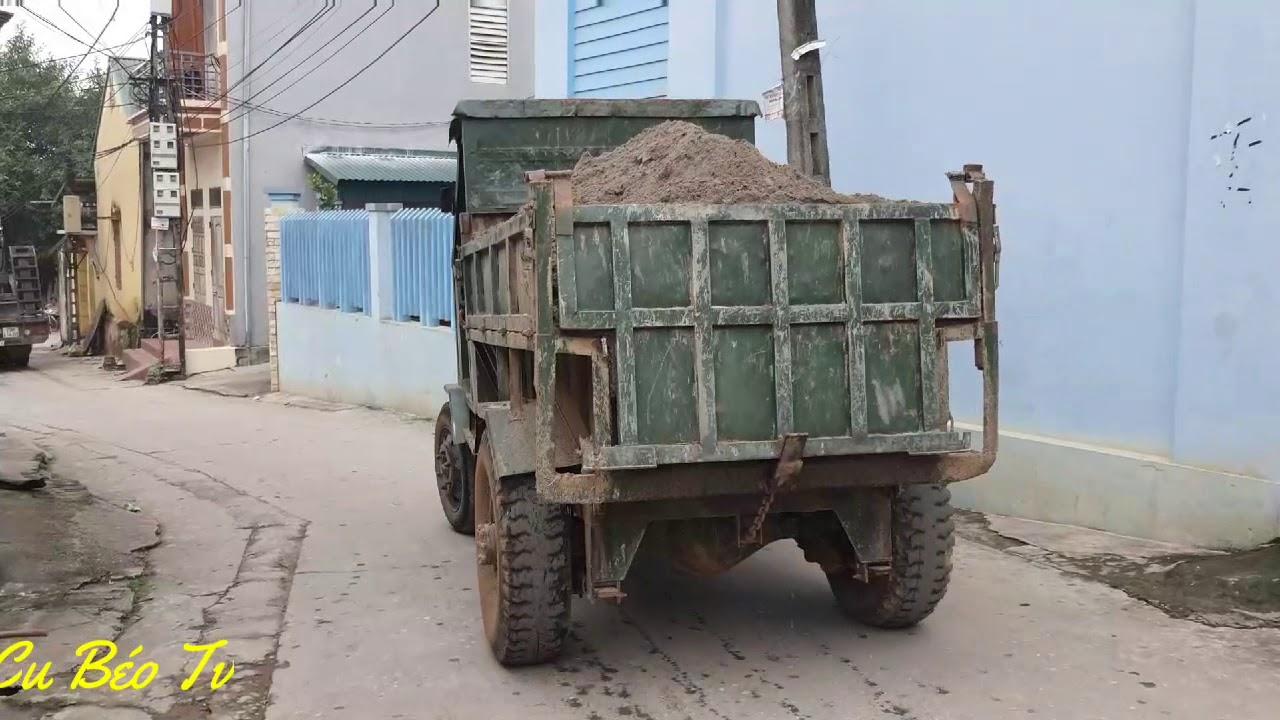 Xe công nông chở cát lùi đổ ben ❤. Industrial truck carrying back sand ❤.