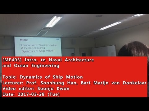 Introduction to Naval Architecture and Ocean Engineering : Dynamics of Ship Motion